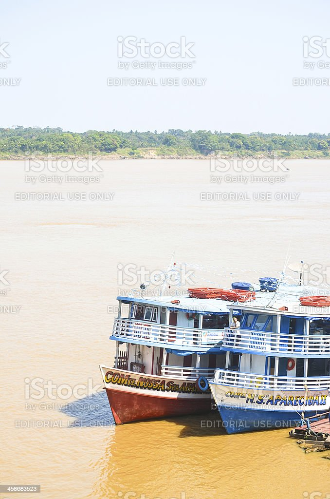 Two boats at Madeira River - Amazonia region (vertical) stock photo