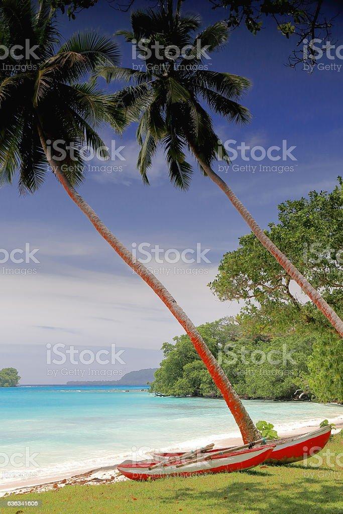 Two boats catamaran-like tied together. Port Olry-Espiritu Santo island-Vanuatu. 7031 stock photo