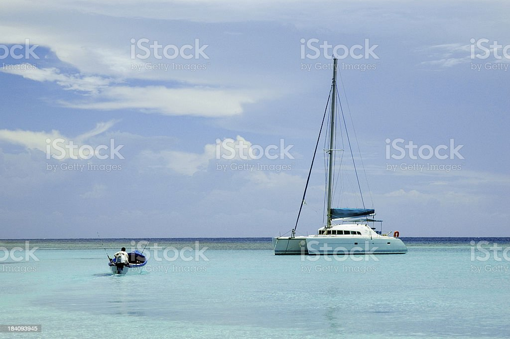 Two boats in the Caribbean royalty-free stock photo