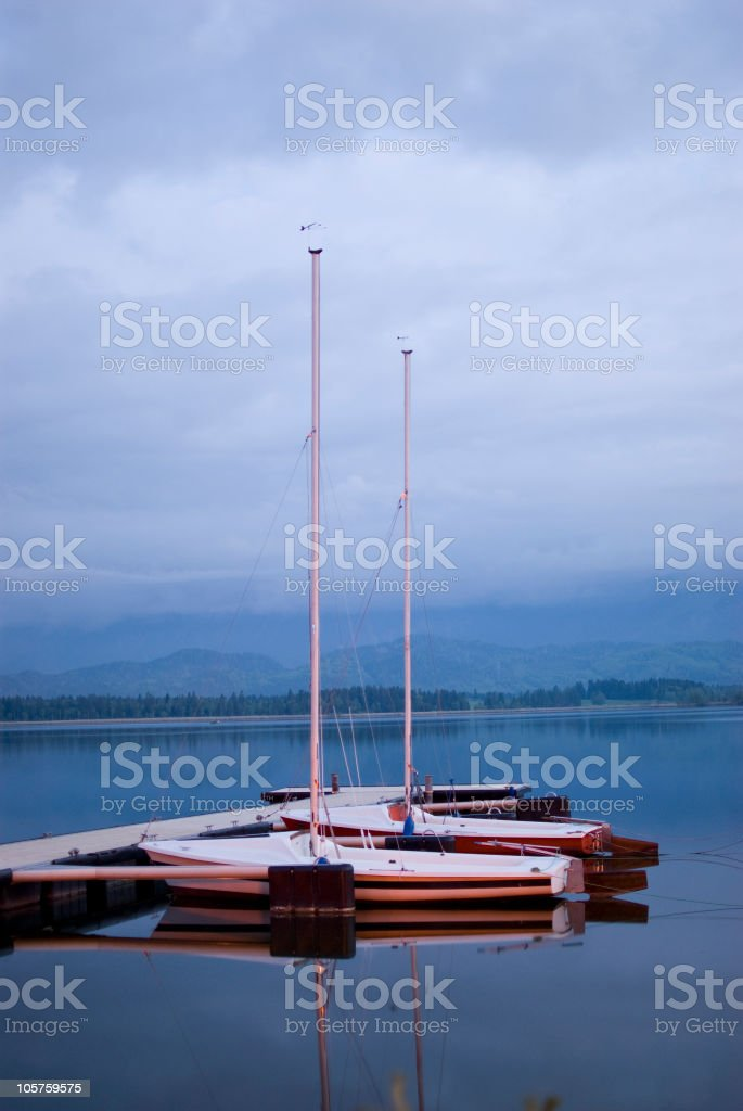 Two Boats on a lake stock photo