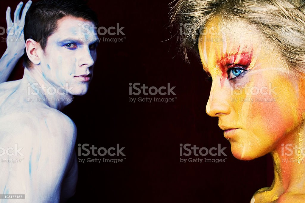 Two Body Painted People royalty-free stock photo