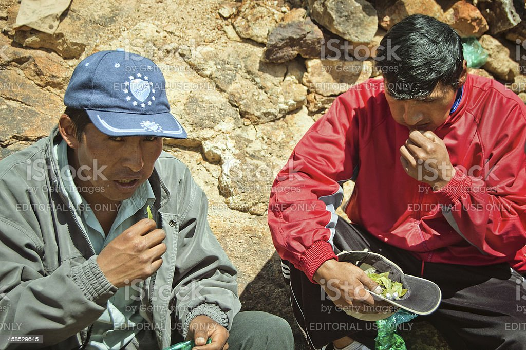 Two Bolivian miners stock photo