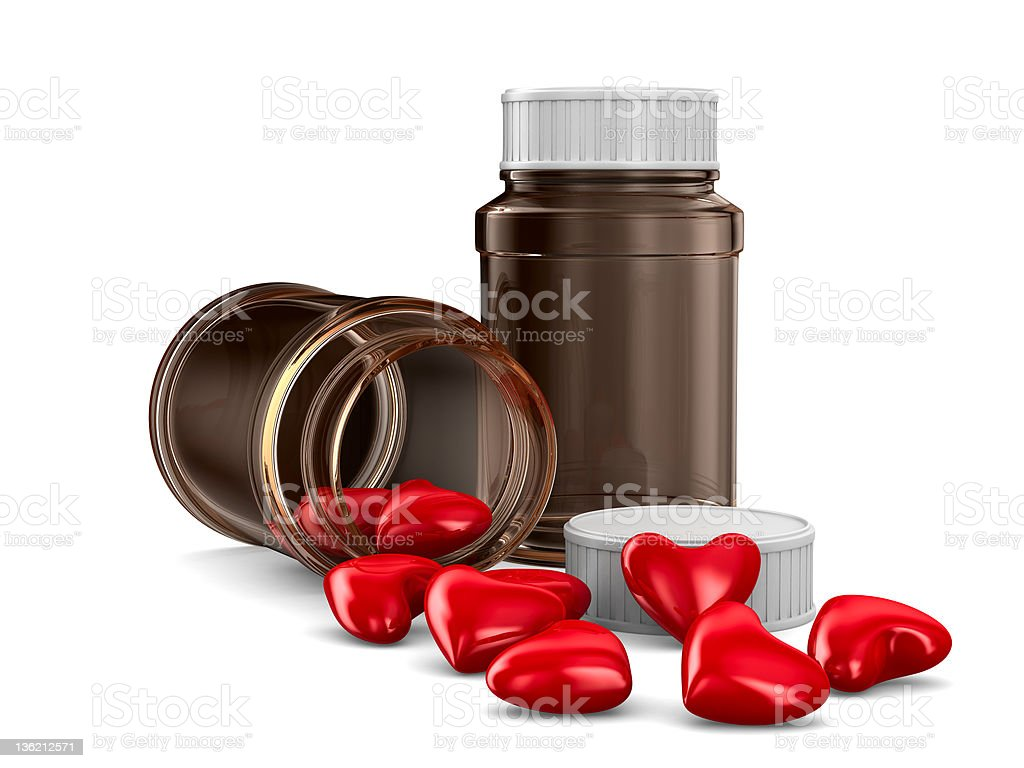 Two bottle and hearts on white background. Isolated 3D image royalty-free stock photo