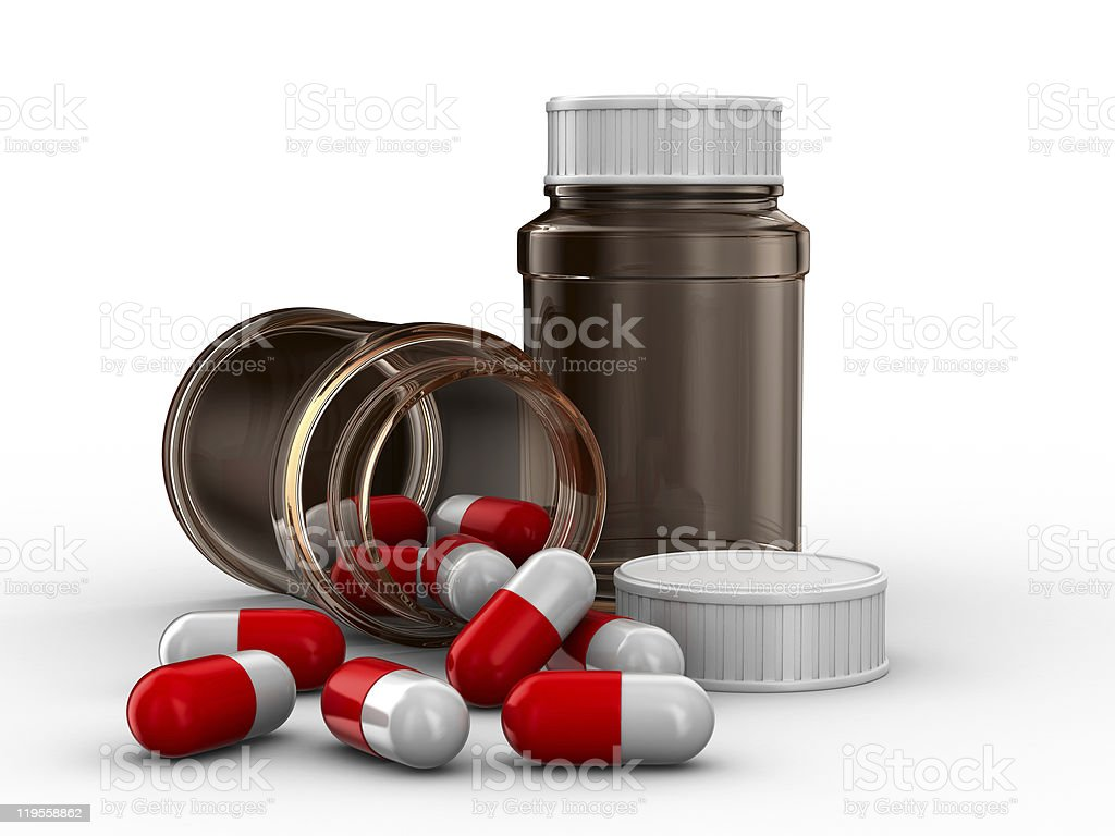 Two bottle for tablets on white background. Isolated 3D image royalty-free stock photo