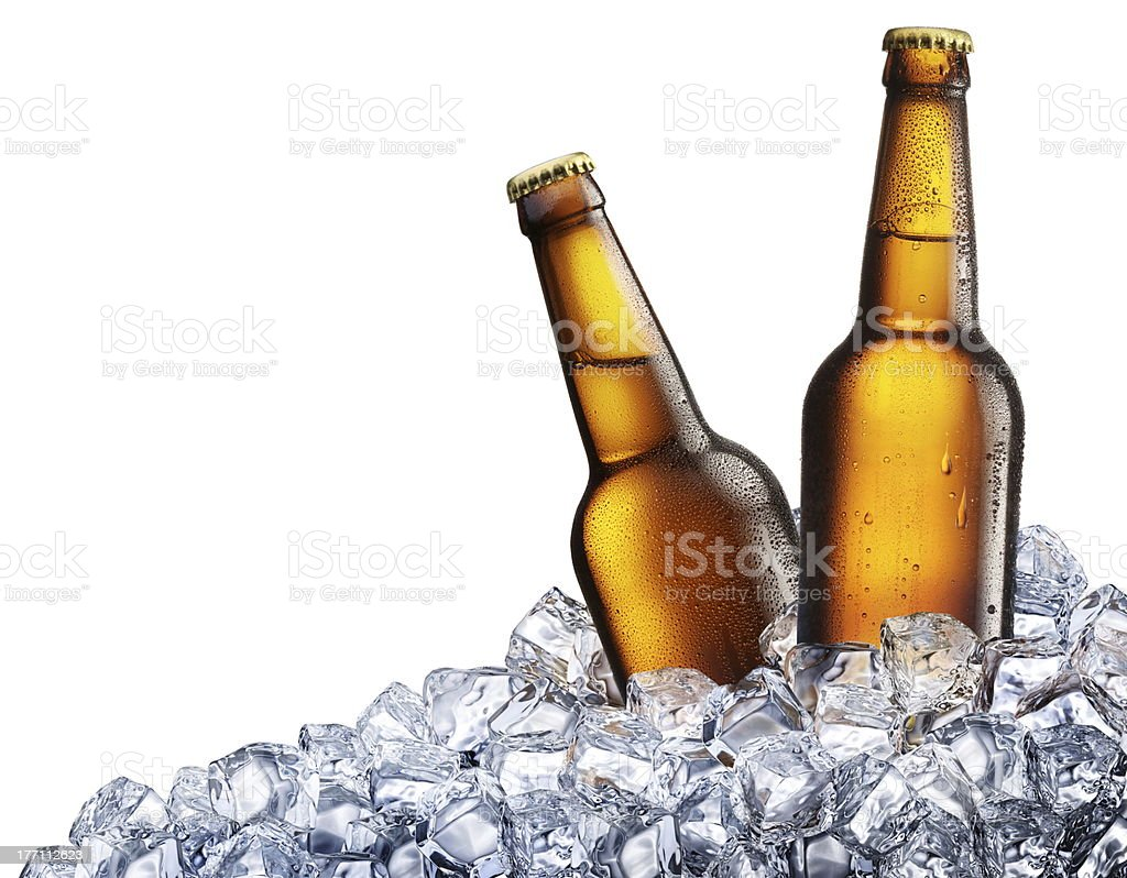 Two bottles of beer on ice. stock photo
