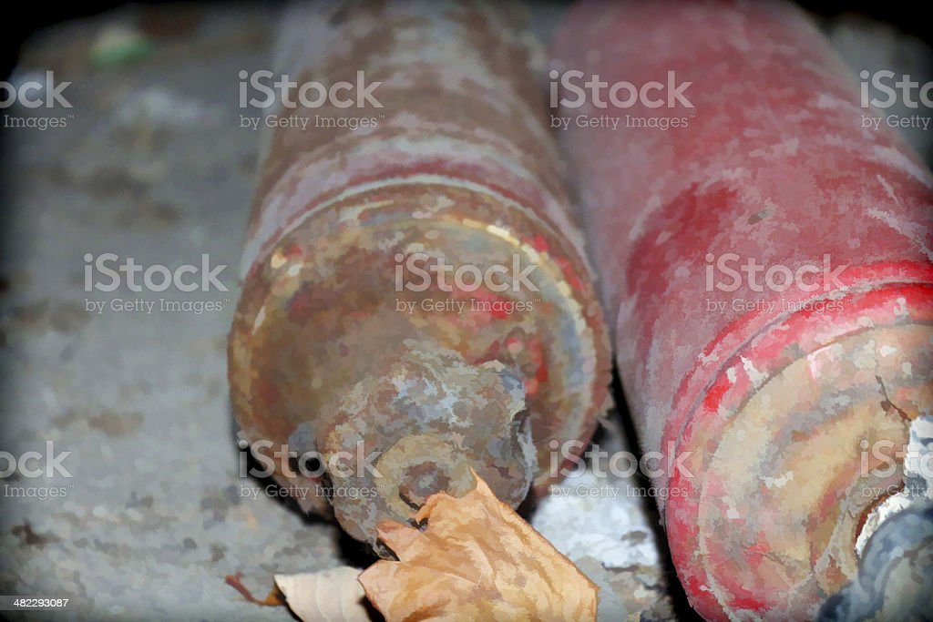 two bottles of gas stock photo