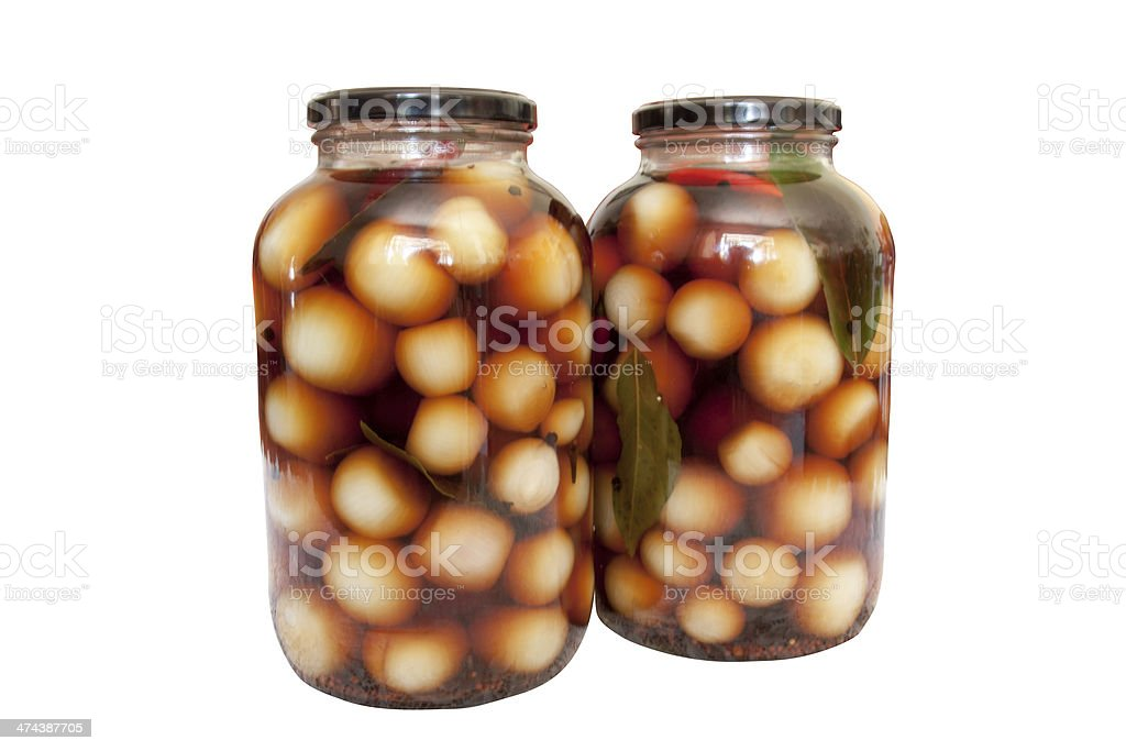 Two Bottles of Home Made Pickle Onions stock photo