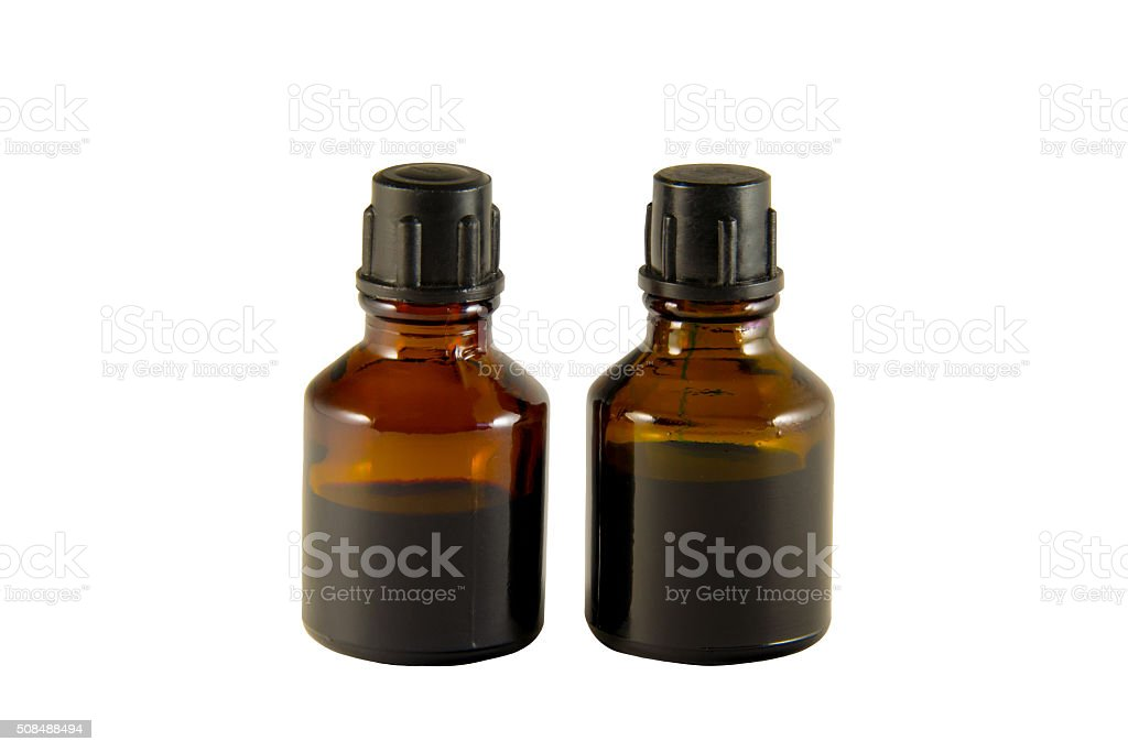 Two bottles of iodine and brilliant green stock photo