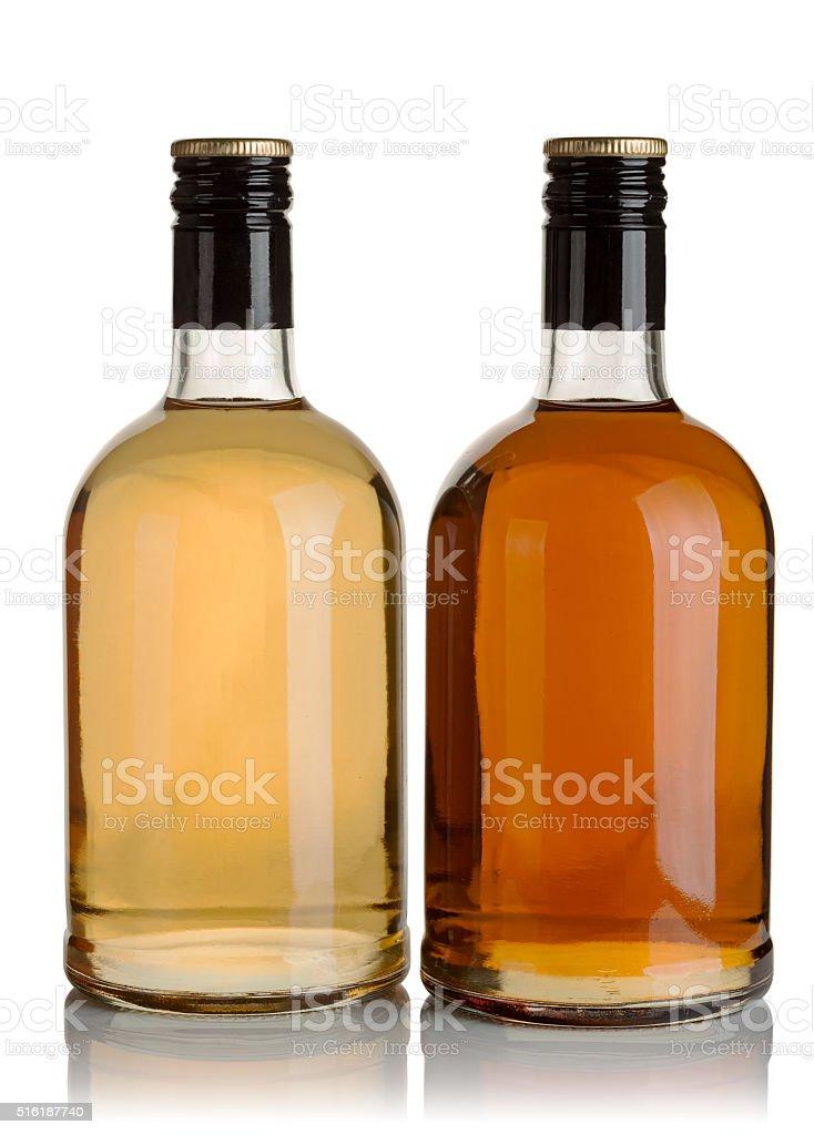 two bottles of liquor stock photo