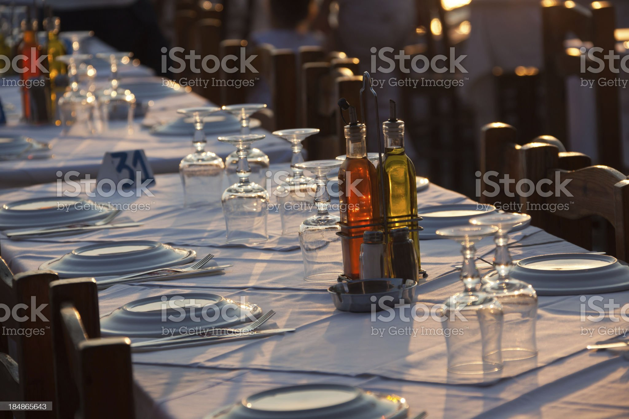 Two bottles of oil and vinegar on the table royalty-free stock photo