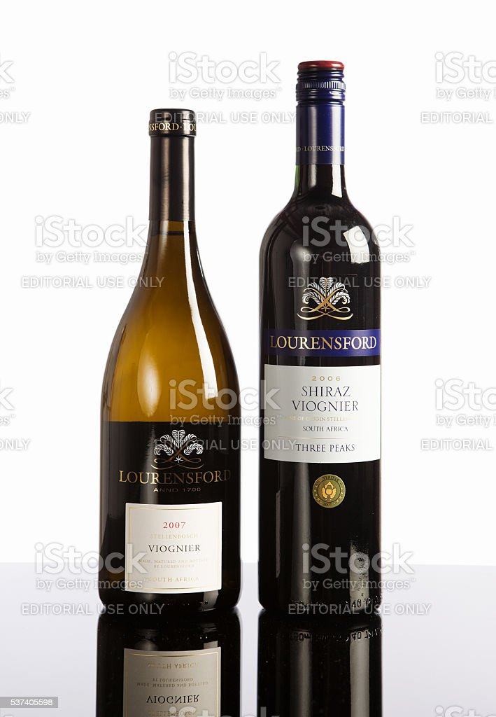 Two bottles of South African wine, viognier, shiraz, blend, stock photo