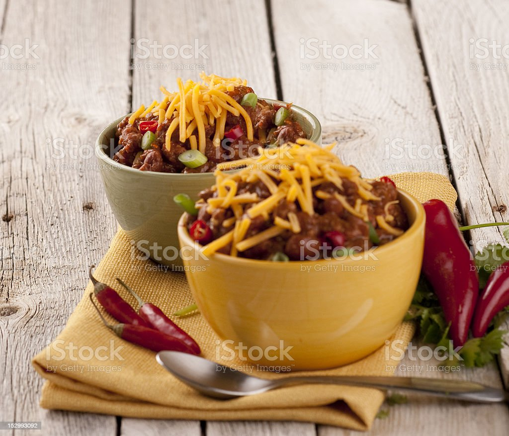 Two bowls of Chili royalty-free stock photo
