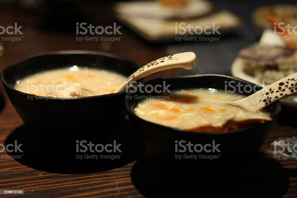Two bowls of delicious crab meat congee, Japanese Cuisine stock photo
