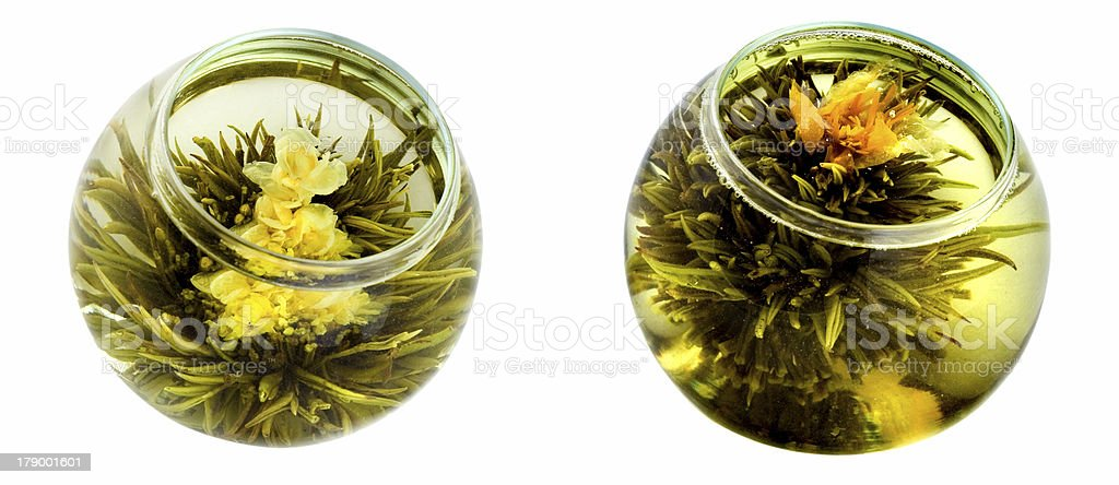 Two bowls of green tea with chrysanthemums royalty-free stock photo