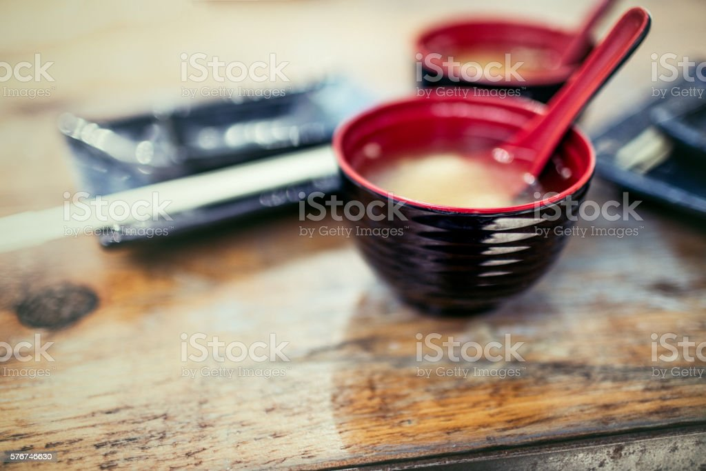 Two bowls of miso soup stock photo