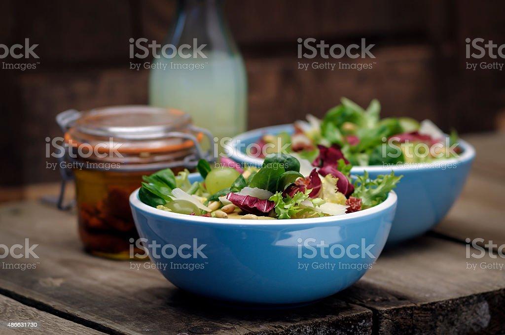 Two bowls of mixed salad stock photo