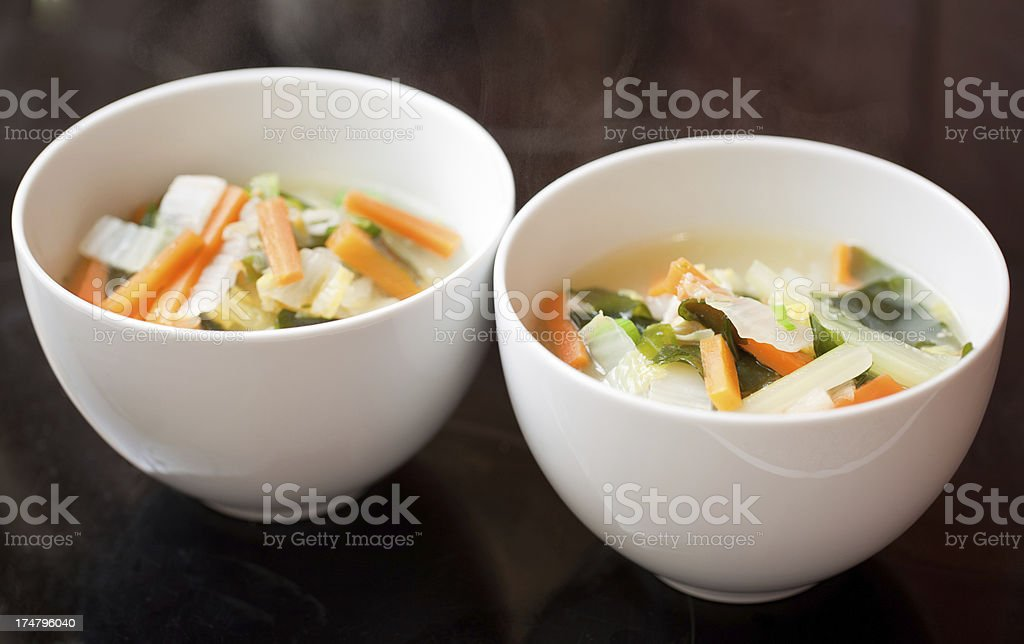 Two bowls of vegetable  soup royalty-free stock photo