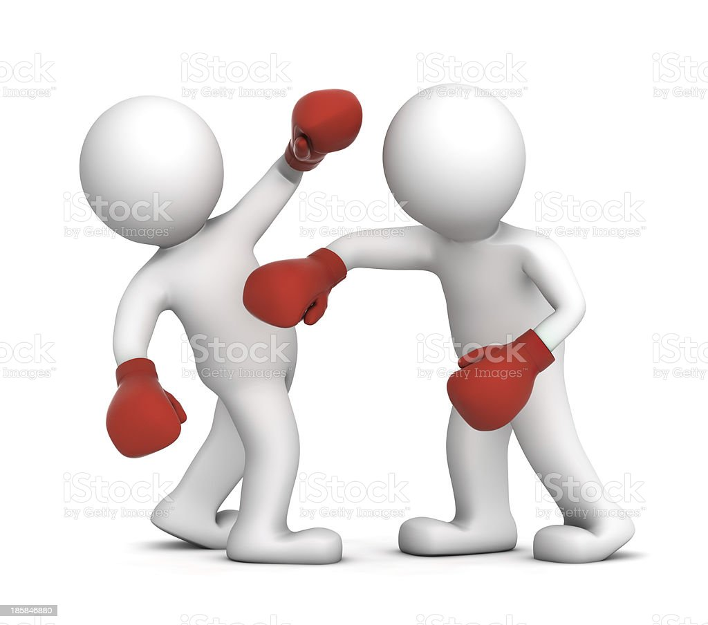 Two boxers during the boxing match royalty-free stock photo
