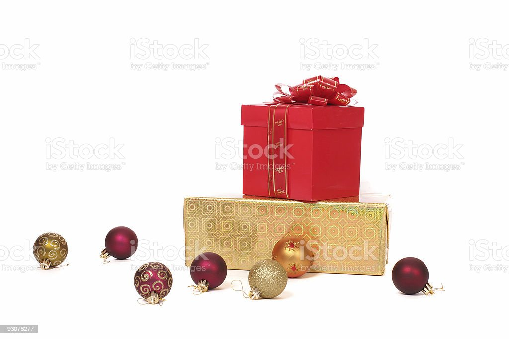 Two boxes and tree toys stock photo