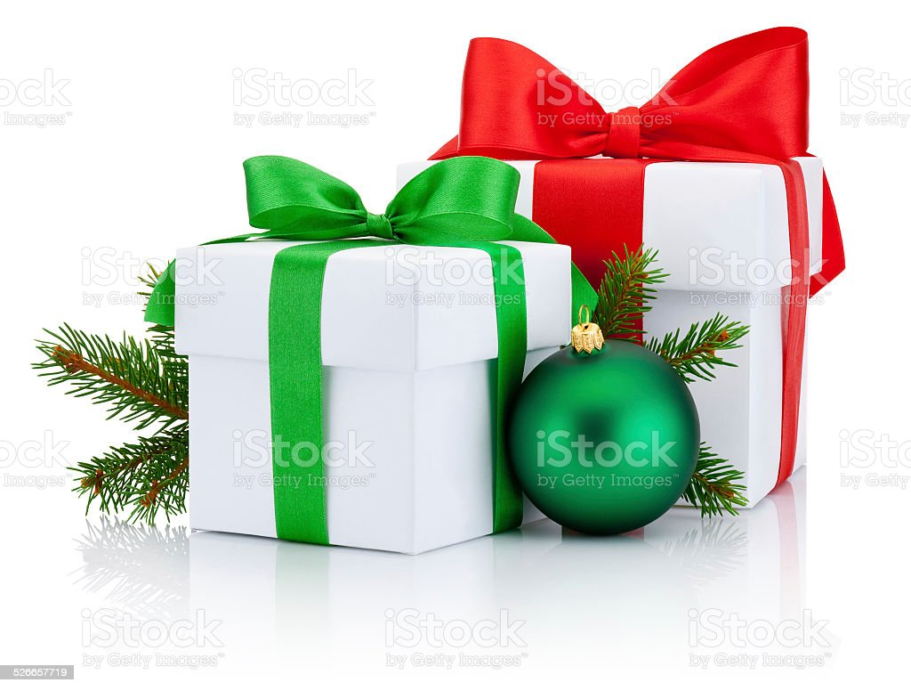 Two boxs tied ribbons bow, pine branch and christmas ball stock photo