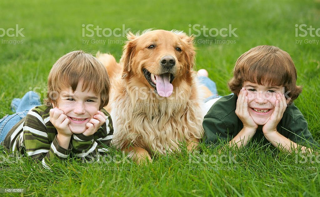 Two Boys and a Dog royalty-free stock photo
