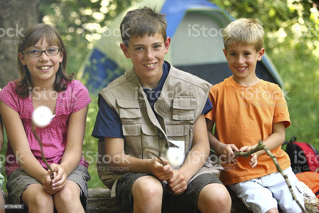 Two boys and a girl smiling while roasting marshmallows royalty-free stock photo
