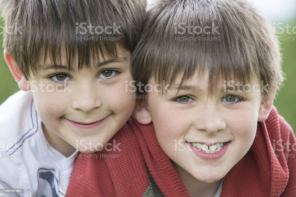 Two Boys Close Up Portrait royalty-free stock photo