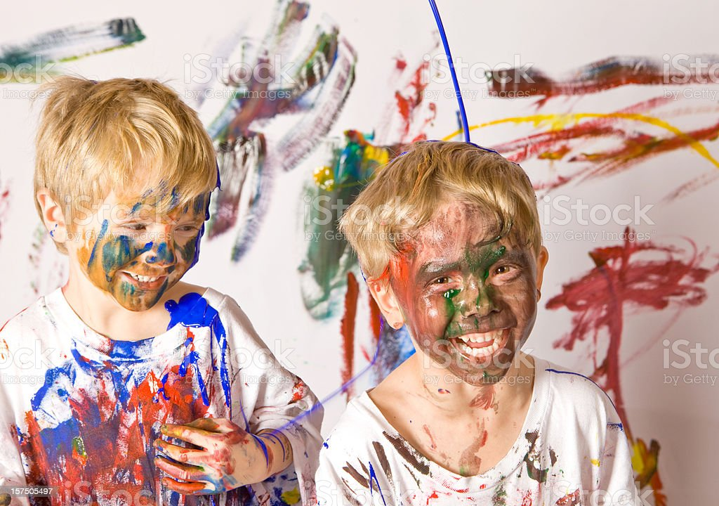 Two Boys Covered with Paint stock photo