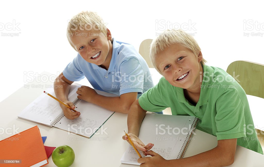 Two Boys Doing Their Homework royalty-free stock photo