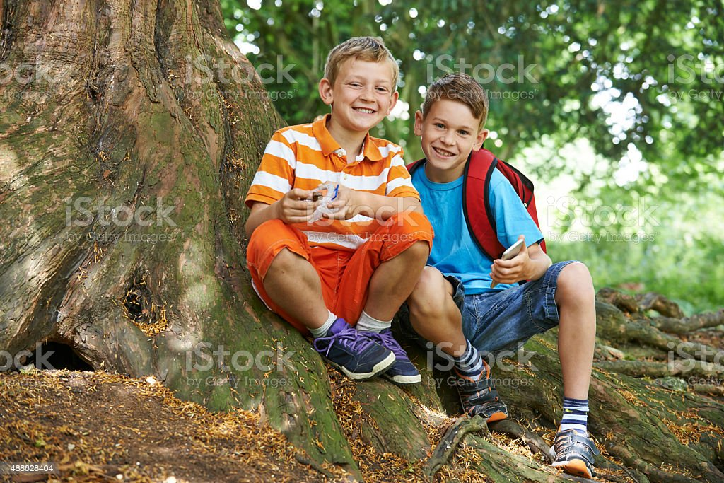 Two Boys Geocaching In Woodland stock photo