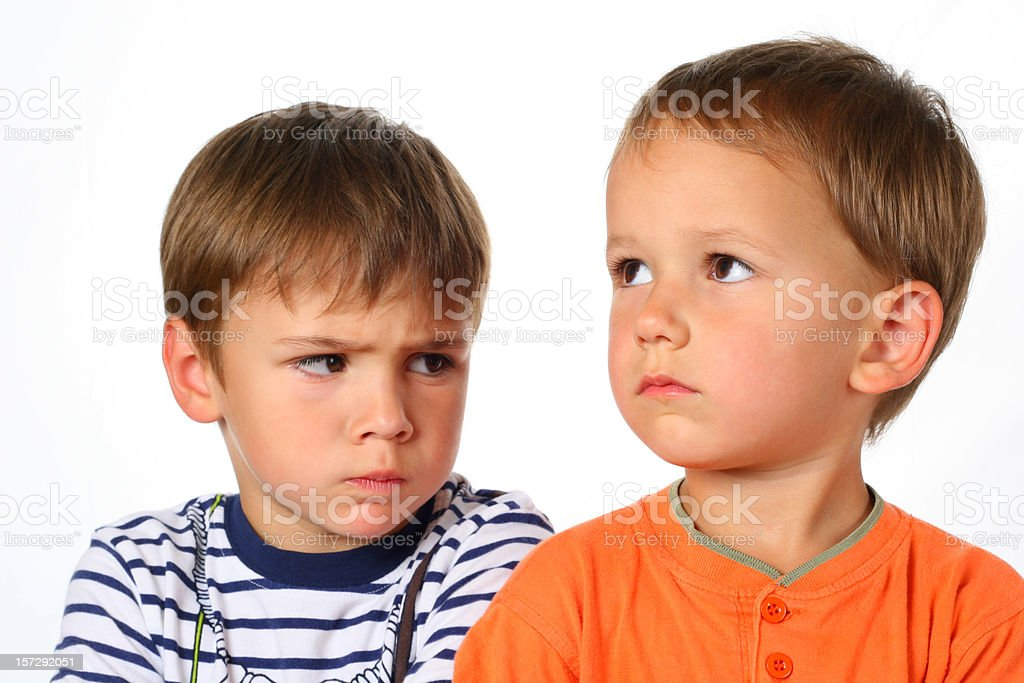 Two boys in conflict royalty-free stock photo