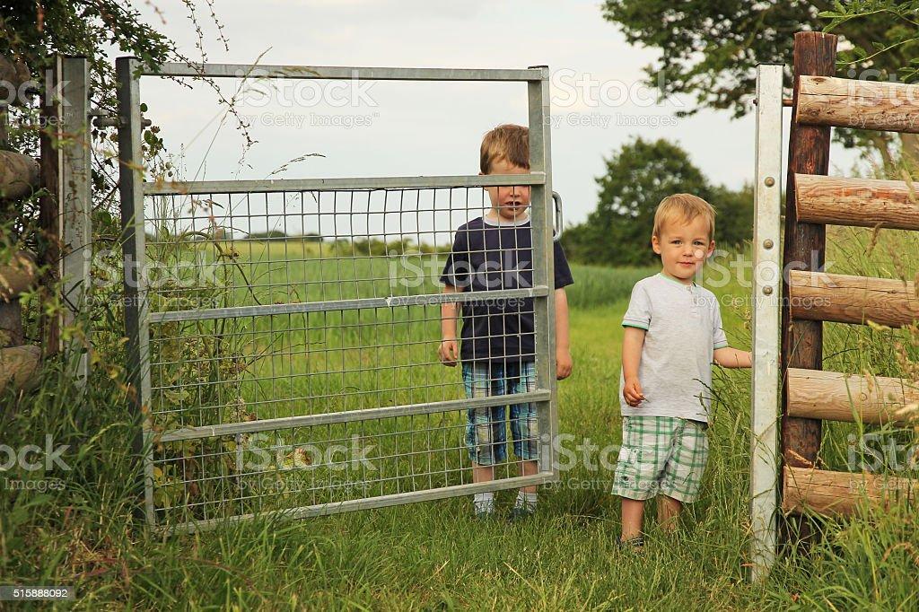 Two boys in field stock photo