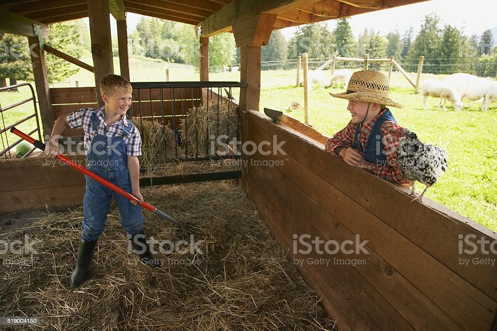 Two boys in hayloft on farm stock photo