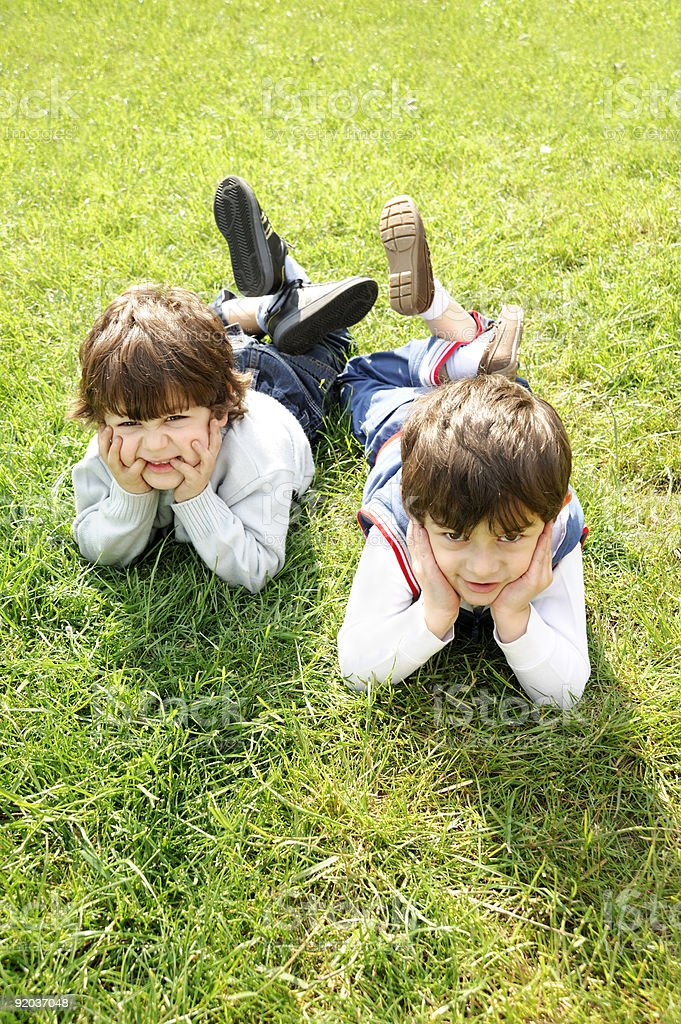 two boys in nature royalty-free stock photo