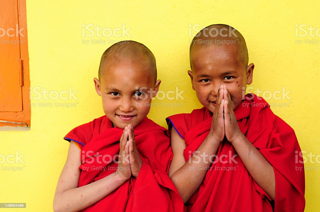 Two boys of Jonangpa school in Kathmandu, Nepal stock photo