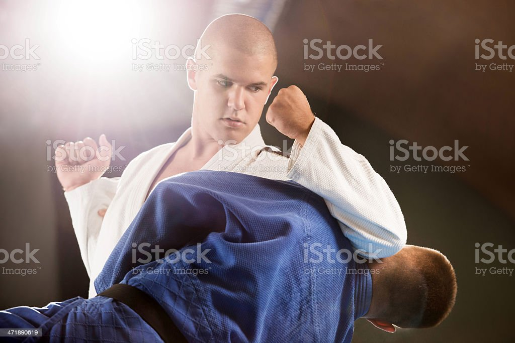 Two boys practicing self-defense. royalty-free stock photo