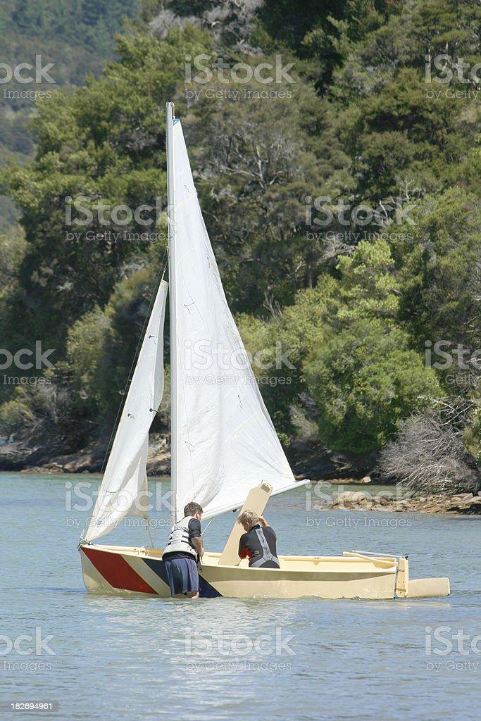 Two Boys preparing to set sail royalty-free stock photo