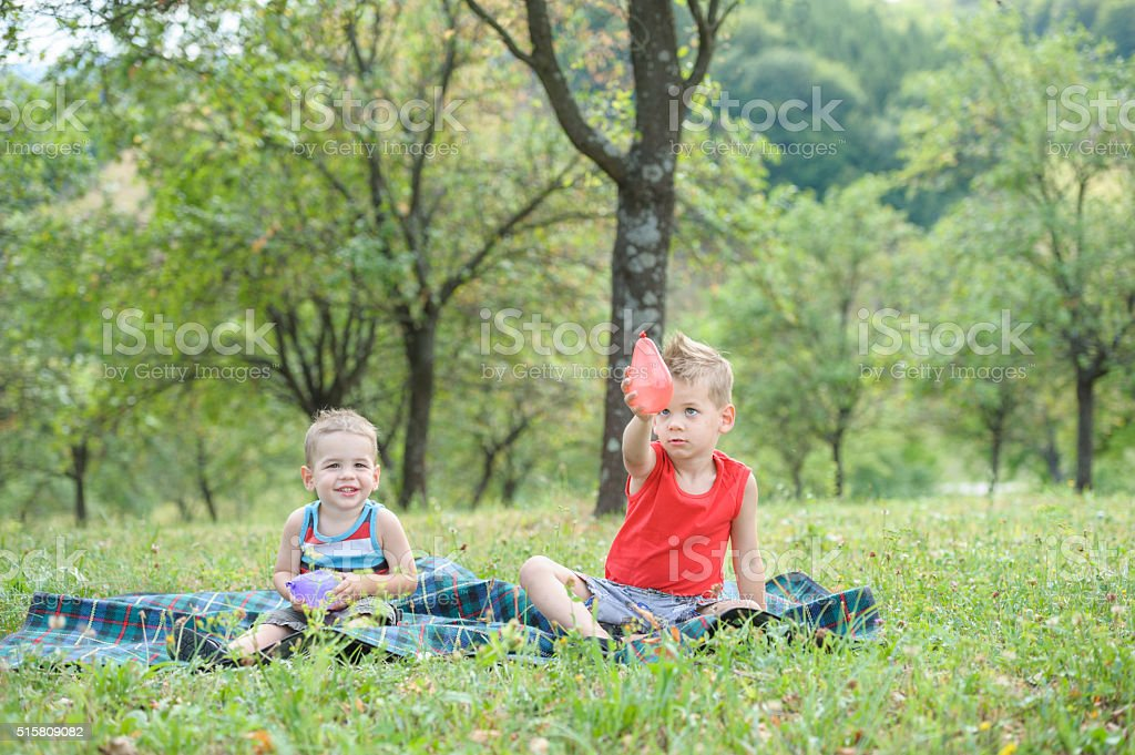 Two boys sitting in the grass stock photo