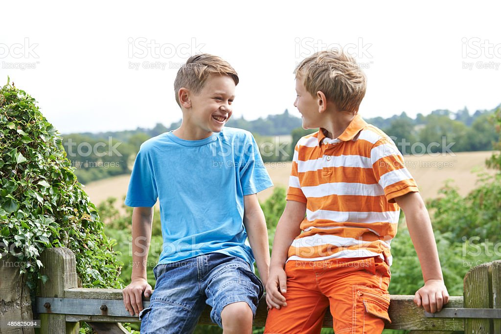 Two Boys Sitting On Gate Chatting Together stock photo
