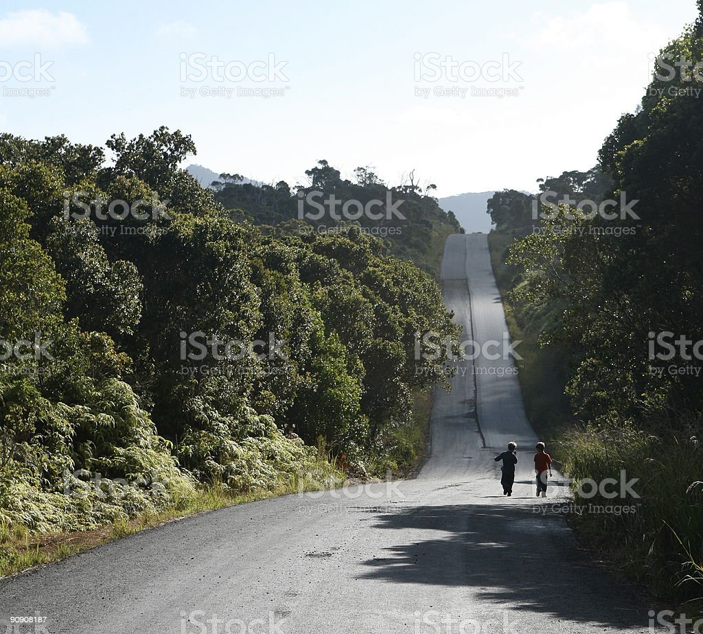 Two boys walking down long country road royalty-free stock photo