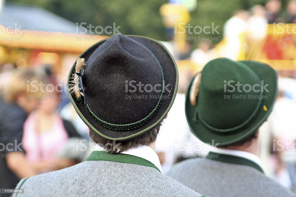 Two boys with hats at the Octoberfest stock photo