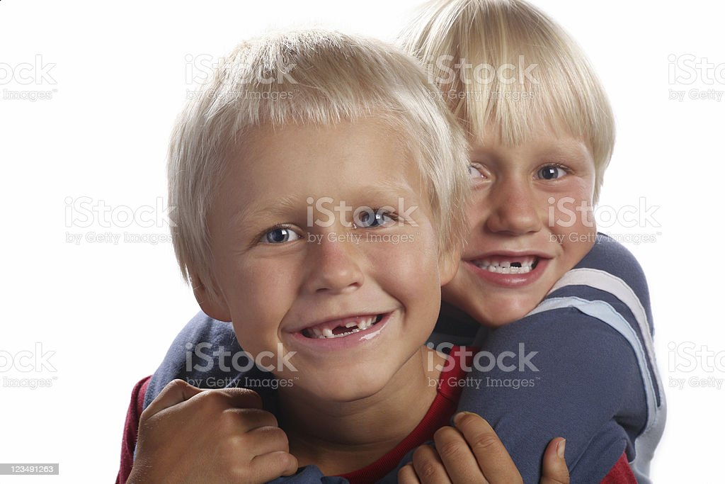 Two Boys with Missing Teeth stock photo