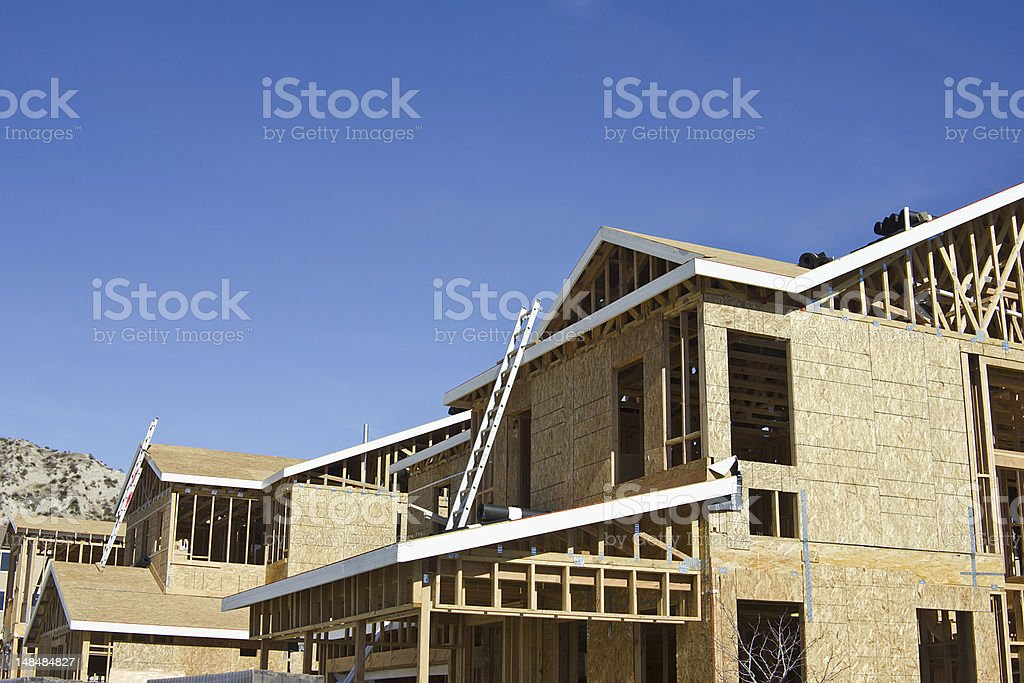 Two brand new homes still under construction stock photo