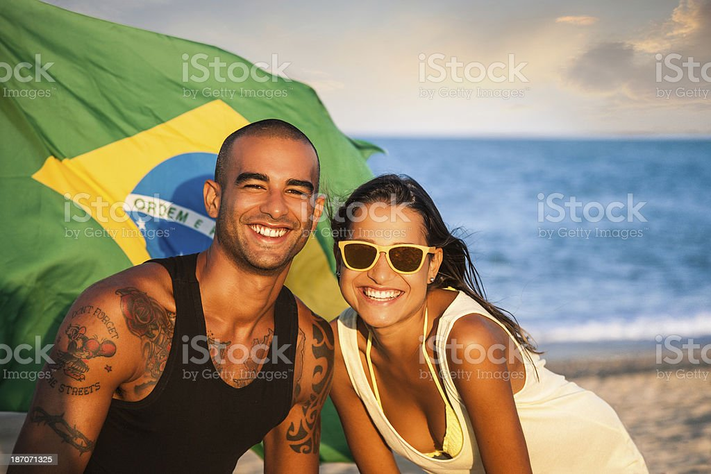 Two brazilian people on the beach royalty-free stock photo