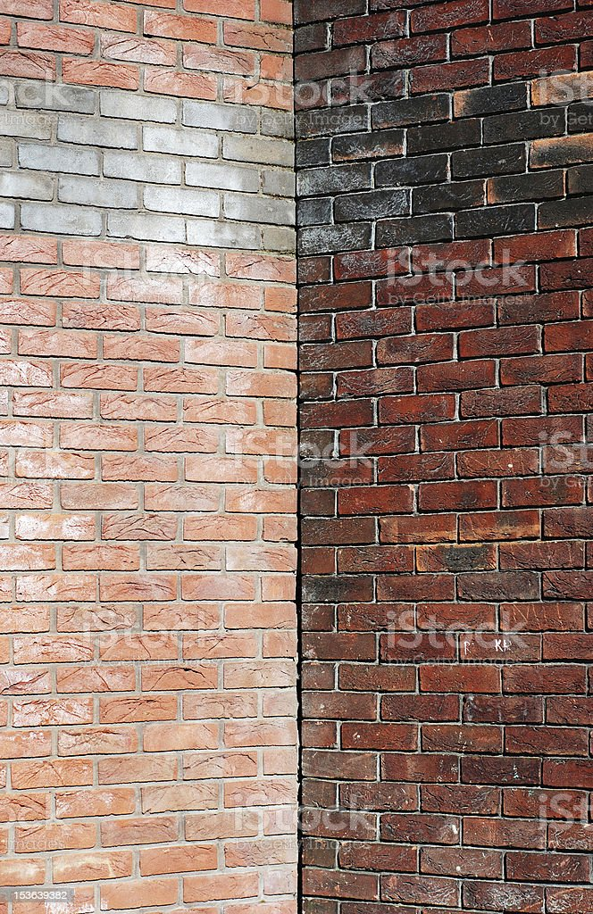Two brick walls corner with symmetric copy space royalty-free stock photo