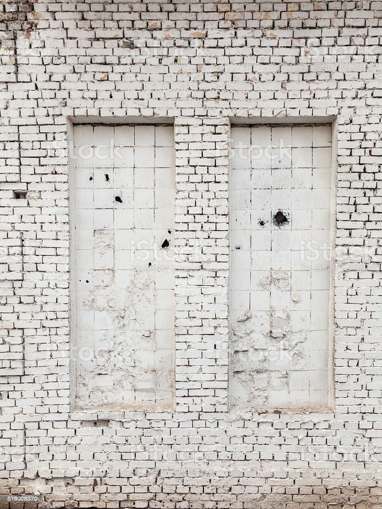 Two Bricked Up Window stock photo