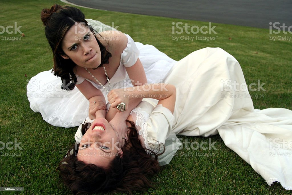 Two Brides fighting royalty-free stock photo