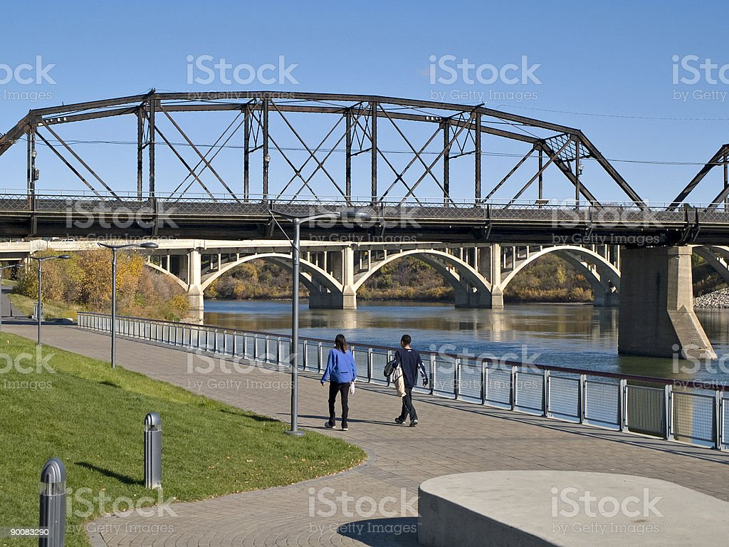 Two Bridges and Walking Path, Saskatoon stock photo