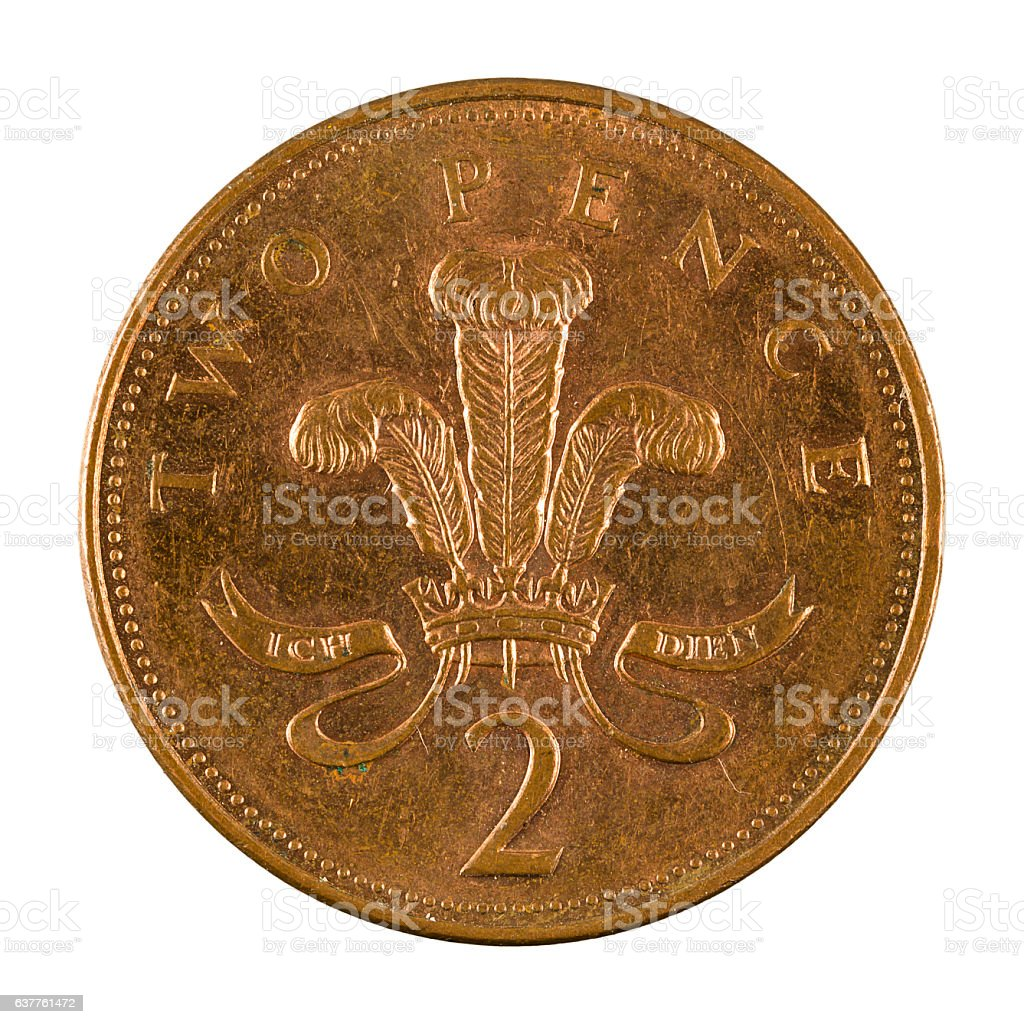 two british pence coin (2003) isolated on white background stock photo