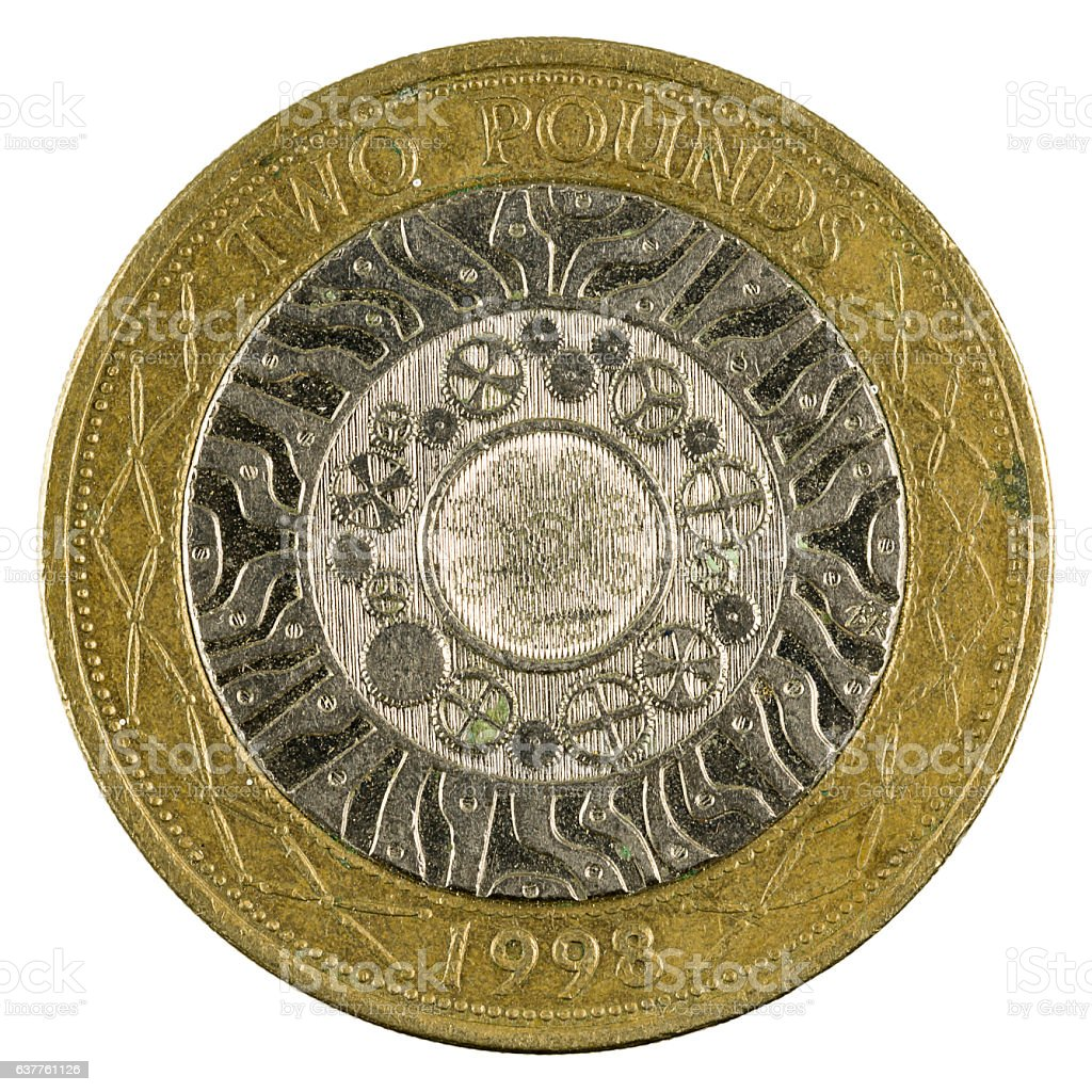 two british pounds coin (1998) isolated on white background stock photo
